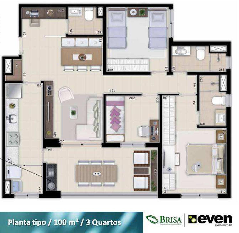 apartamento de 3 quartos no nouveau