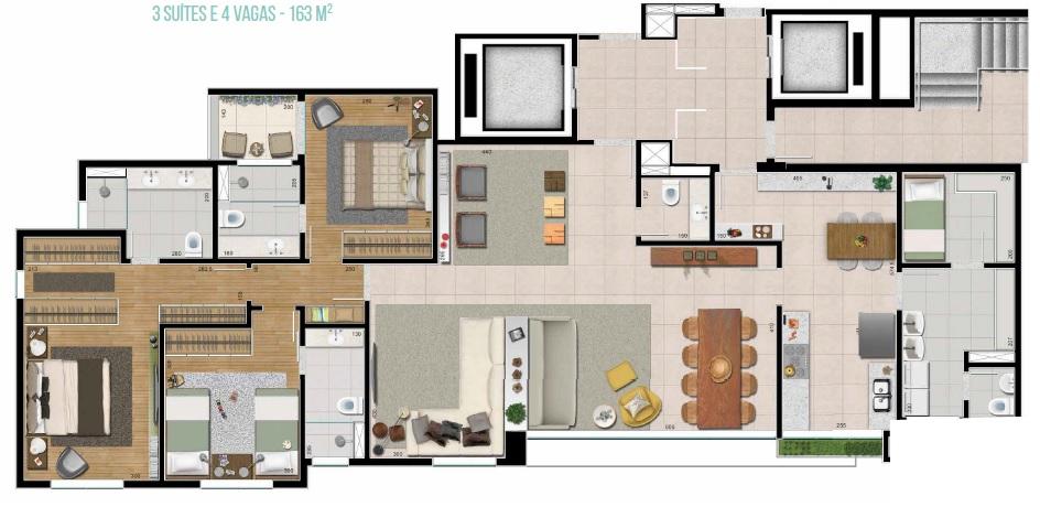 apartamento com 3 suites no kadosh vila da serra