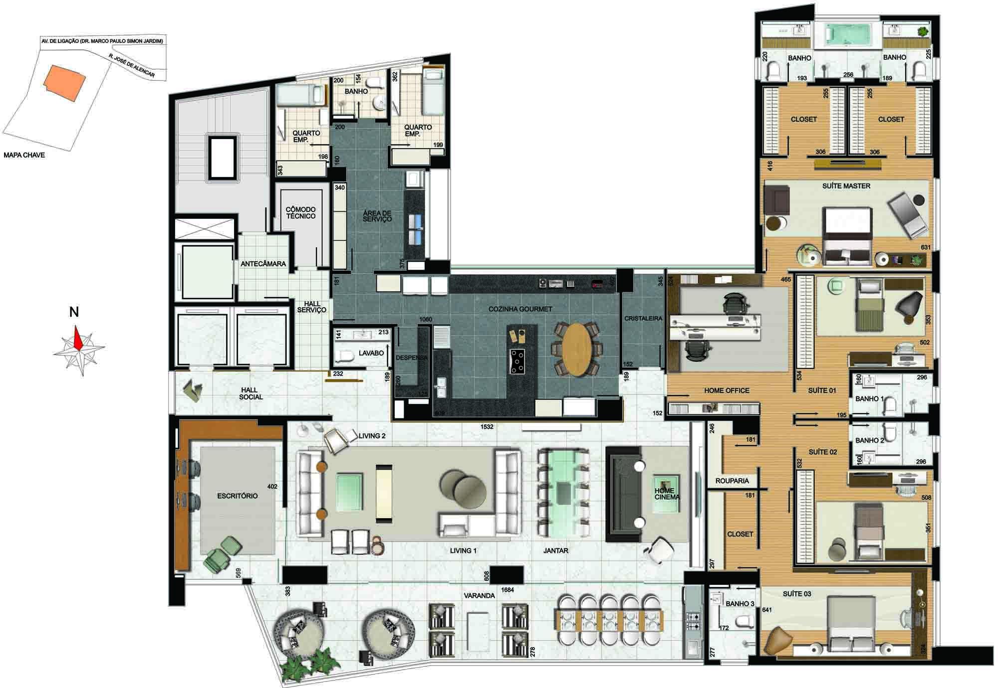 apartamento 4 quartos de alto luxo