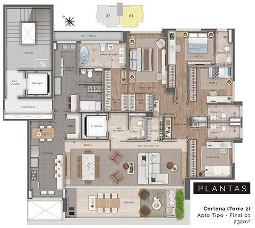 apartamento de 4 quartos na planta