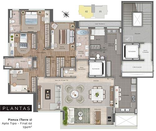 apartamento na planta de 4 quartos