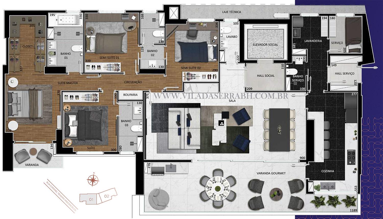 apartamento na planta 4 quartos no vila da serra