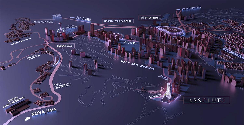 mapa do absoluto no vila da serra