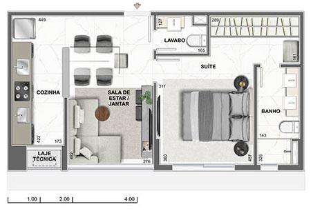 apartamento na planta com um quarto