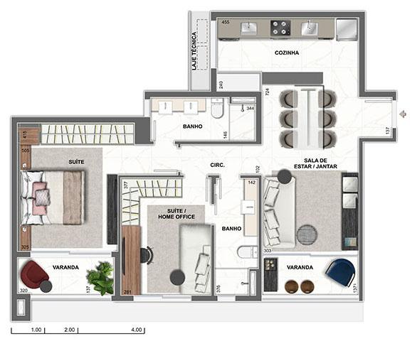 apartamento na planta de 2 quartos