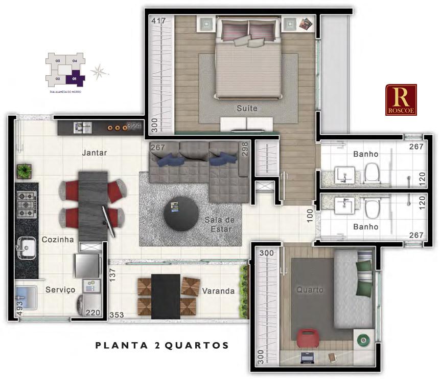 planta 2 quartos beverly hills www.viladaserrabh.com.br